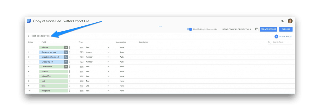 Edit Connections in Google Data Studio